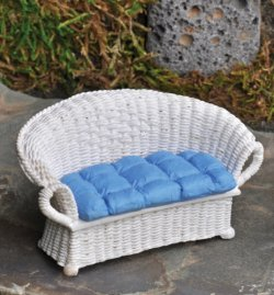 White Wicker Settee Ge17202 7 00 Miniature Cottage Dollhouse Miniatures In Nashville