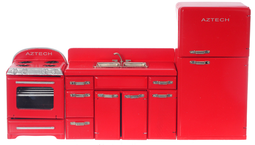 1950 S Appliance Set 3 Red
