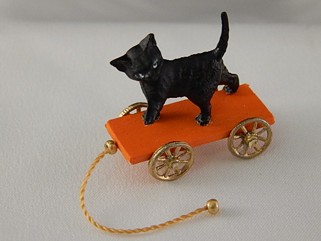 Cat Pulling Wagon : Cats miniature cottage dollhouse miniatures in nashville